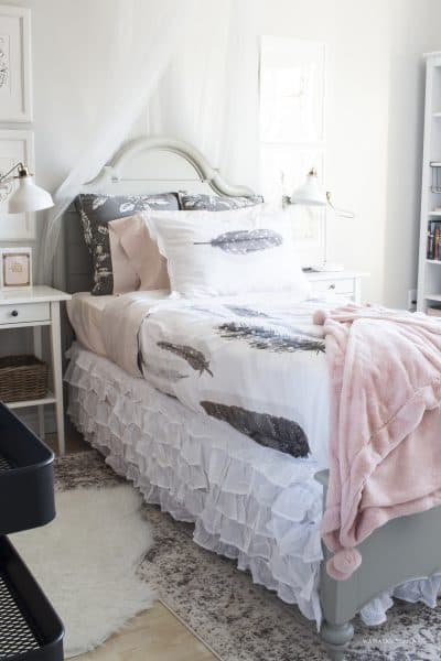 pink and gold girl's bedroom makeover