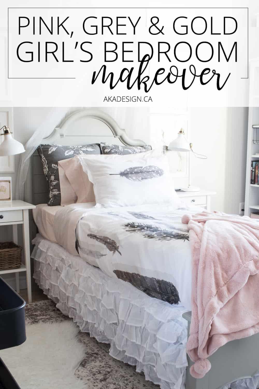 Ooh! Love this pretty girl's bedroom!   Pink and gold girl's bedroom makeover via @akadesigndotca