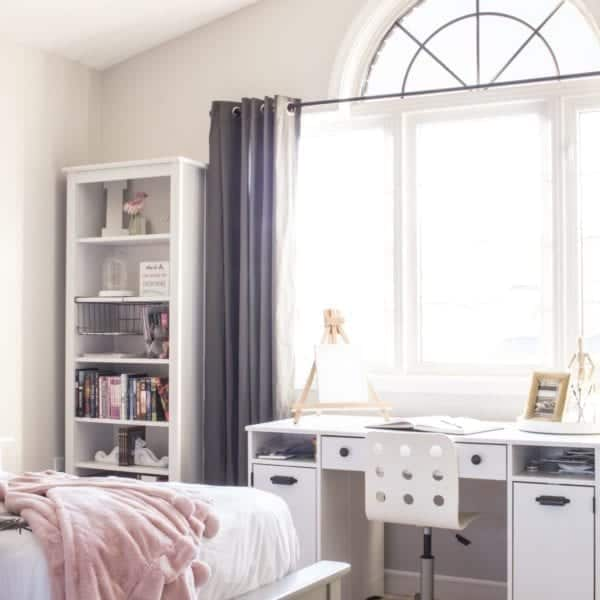 pink grey blush girl's room