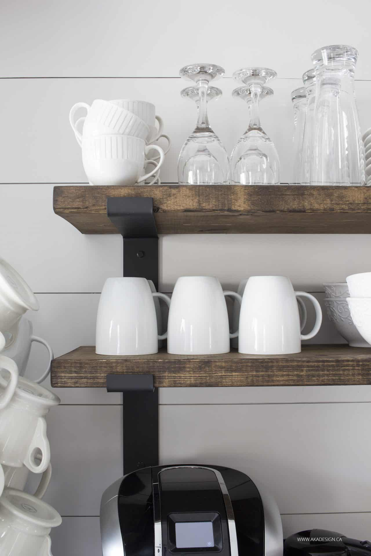 rustic wood kitchen wall shelves with black metal brackets