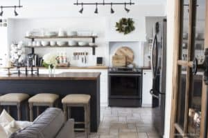 white black and wood kitchen