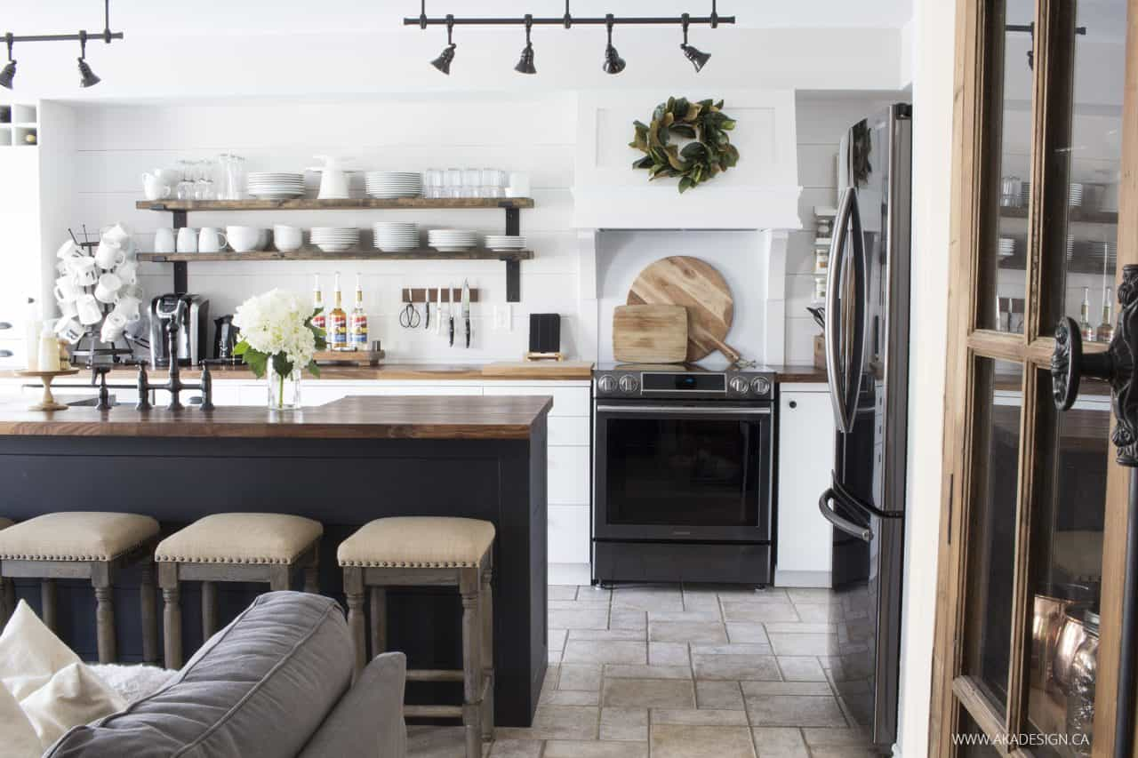 white black and wood kitchen