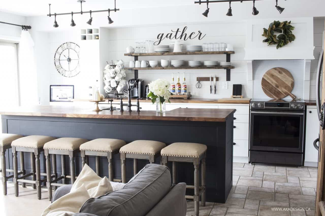 white shiplap kitchen | butcher block counters | black island