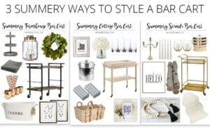 3 ways to style a summery bar cart