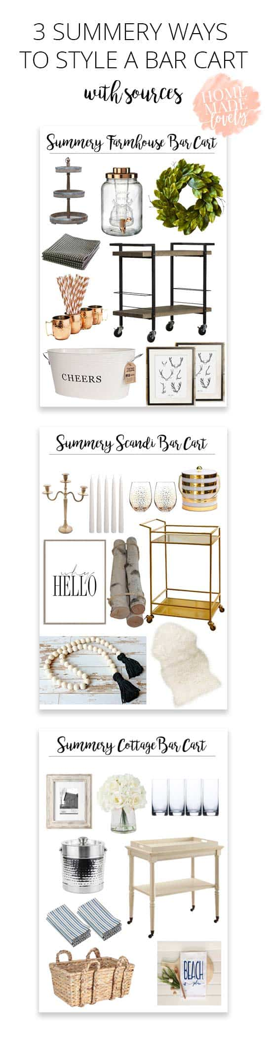 Summer is the perfect time to throw a get together - take a look at how to style a bar cart for a farmhouse, cottage or Scandinavian home!