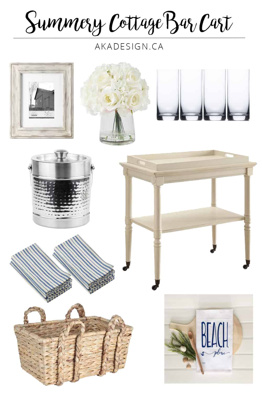 Summery Cottage Bar Cart