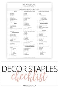 Decor Staples Checklist