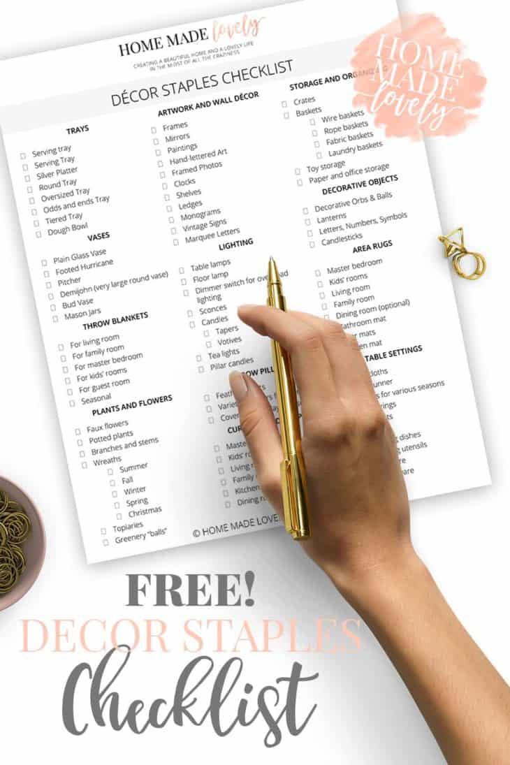 How do you go shopping for decor items knowing for sure what you need? You do it with a decor staples checklist in hand.