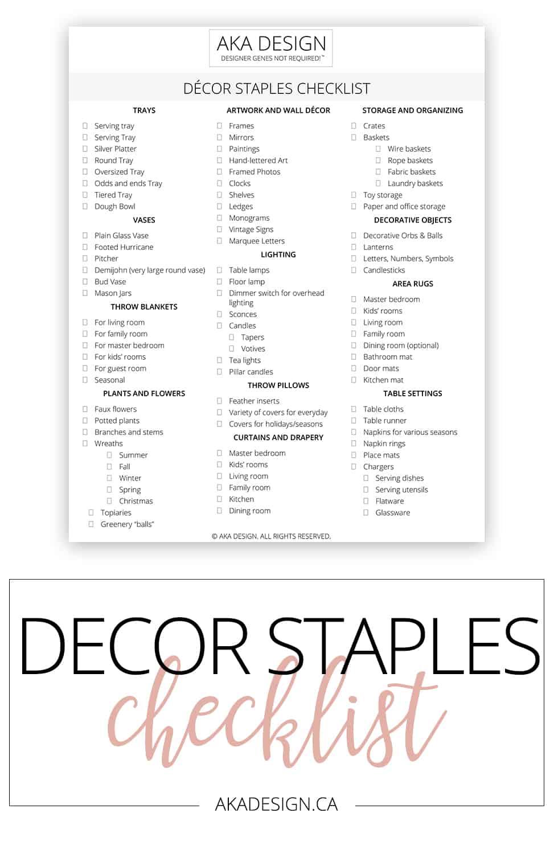 Great tool - now I won't waste money buying things I don't need! Decor Staples Checklist via @akadesigndotca