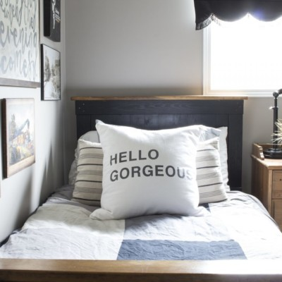 A Rustic Industrial Bedroom For a Teenage Boy – and Teaching Him How to Paint