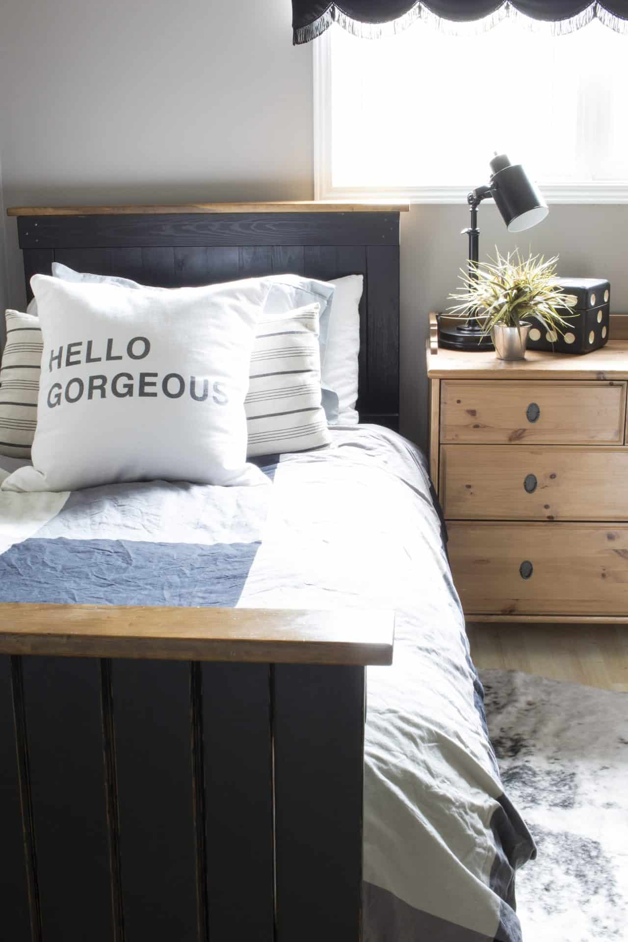 a rustic industrial bedroom for a teenage boy - and teaching him