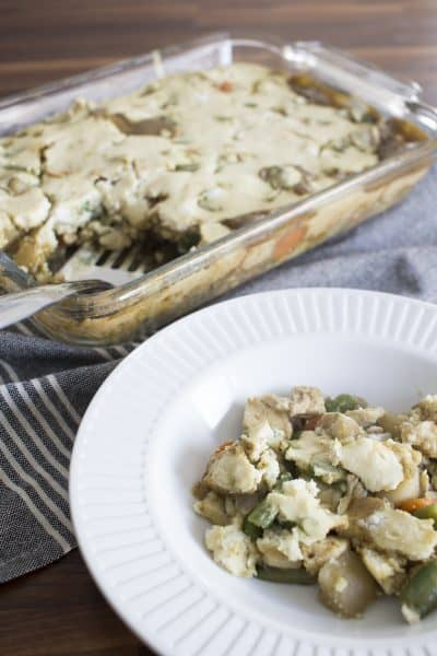 Chicken Pot Pie with Quick Spooned On Crust for Busy Weeknights