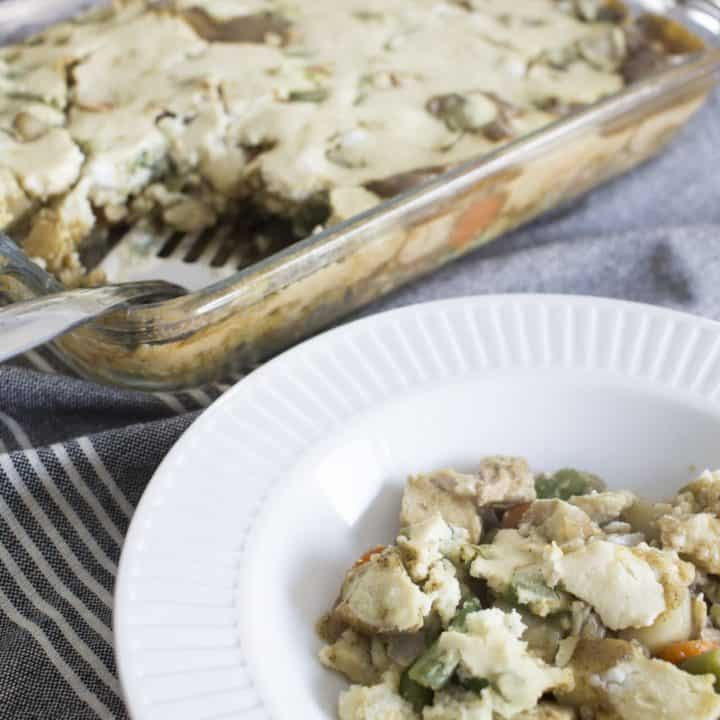 chicken pot pie with quick spooned on crust