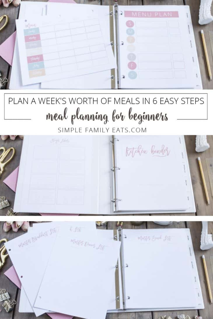 pink binder with meal planning pages