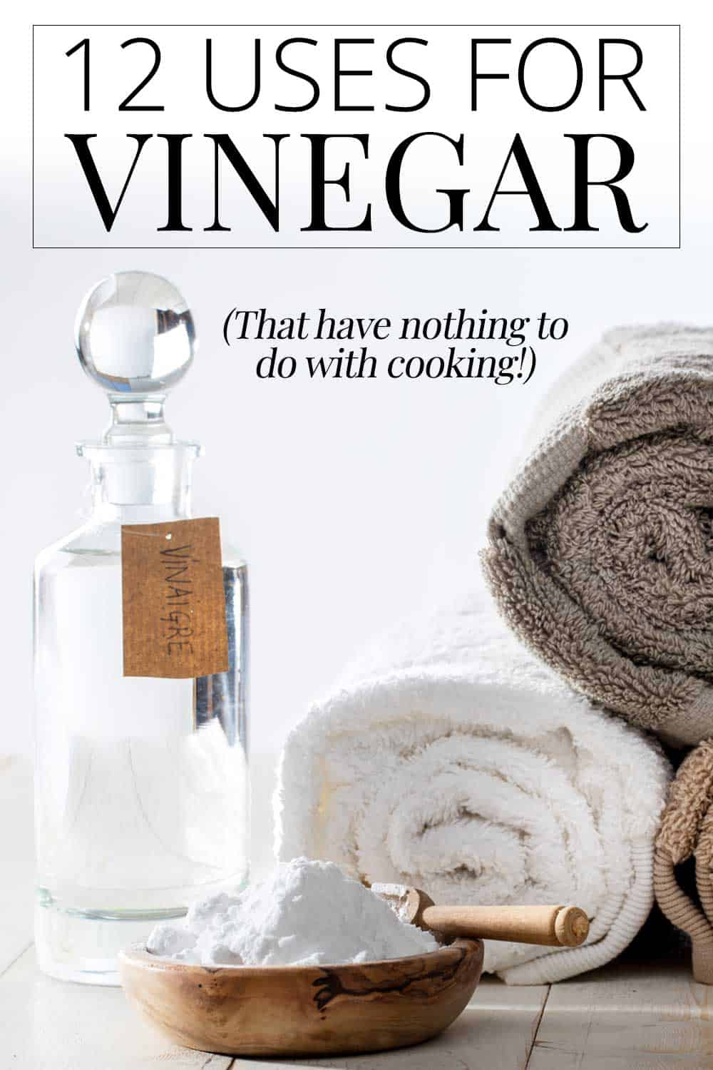 vinegar, baking soda, towels