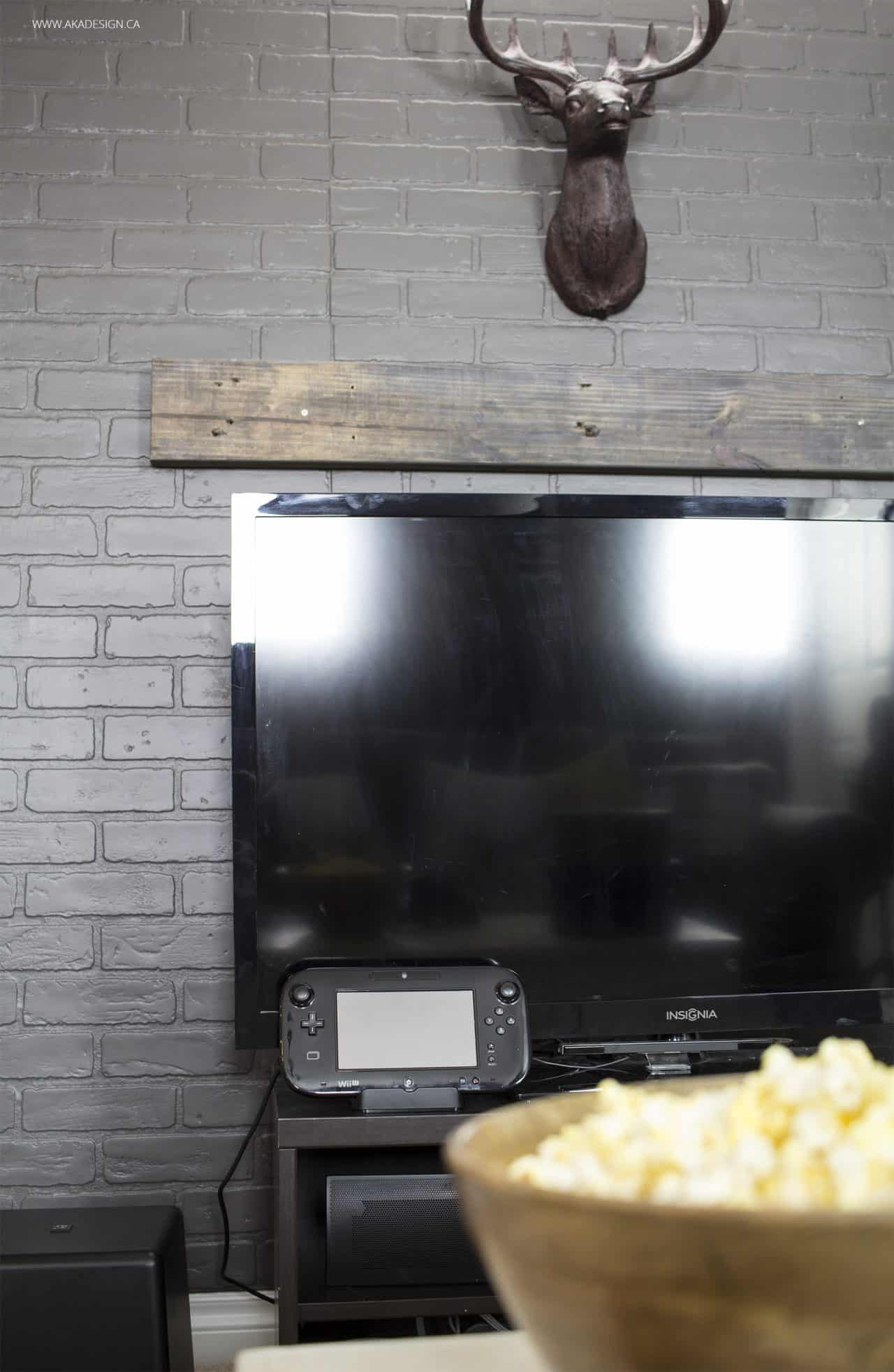 Home Made Lovely Basement TV Faux Mantel