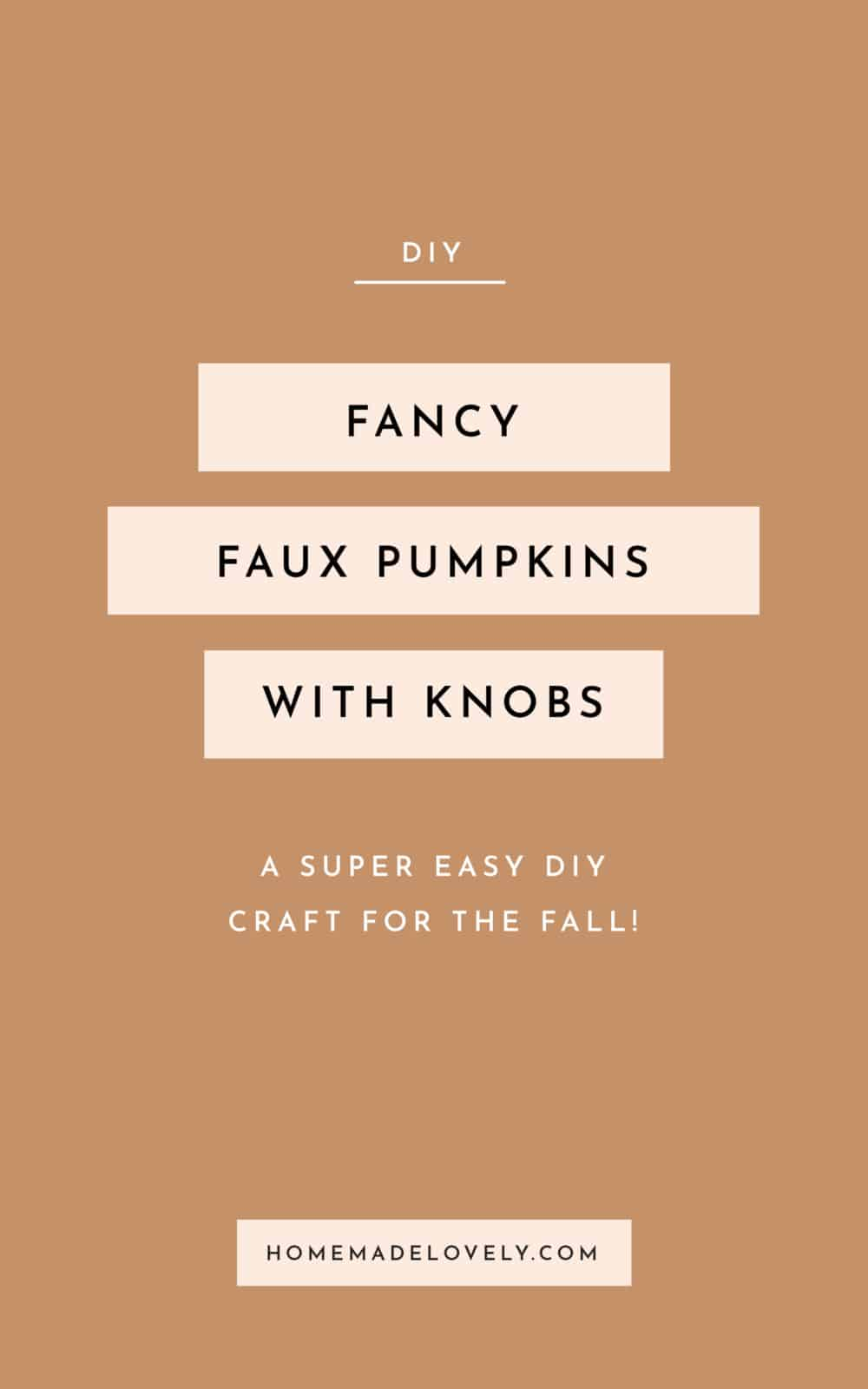 fancy faux pumpkins with knobs text on orange background