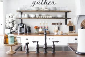 farmhouse kitchen open shelving fall decor