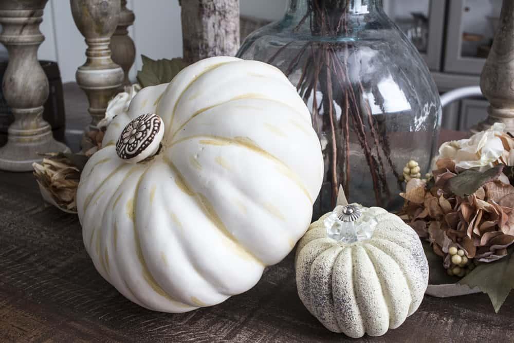 faux pumpkin with cabinet knob stem