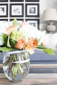 fresh flowers on a rustic coffee table