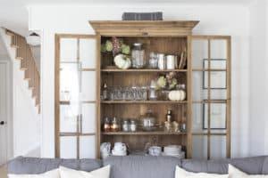 glass door wood bookcase doors open