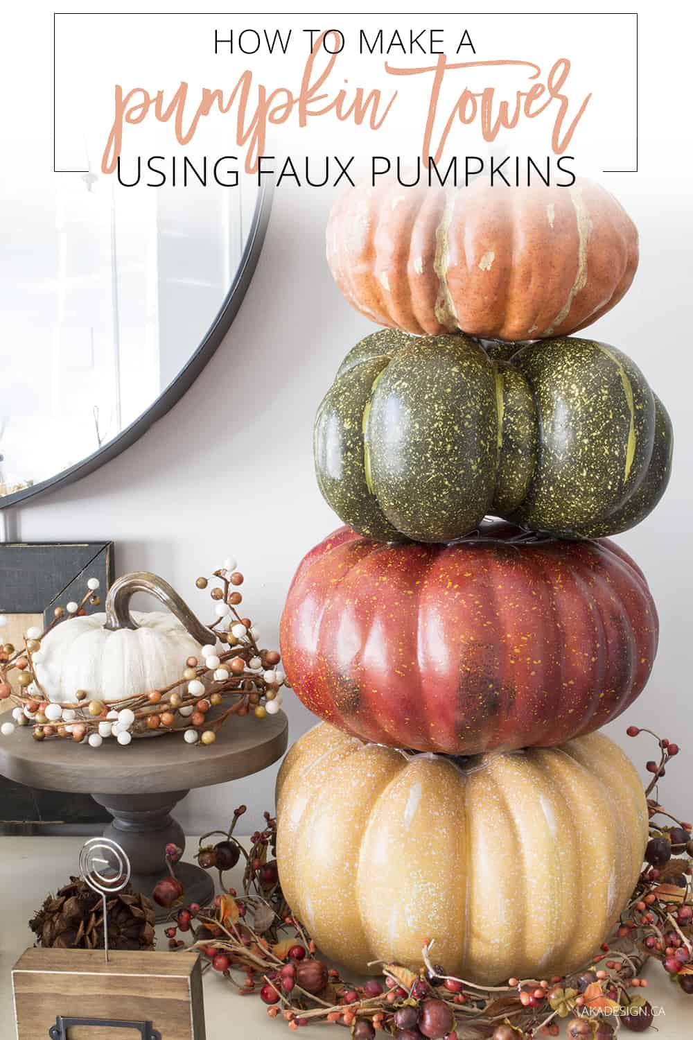 how to make a pumpkin tower using faux pumpkins pin