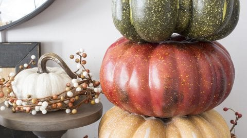 Rustic Pumpkin Tower Using Faux Pumpkins from Michaels