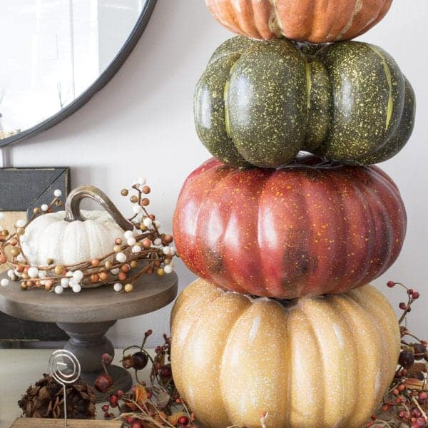 how to make a pumpkin tower with faux pumpkins