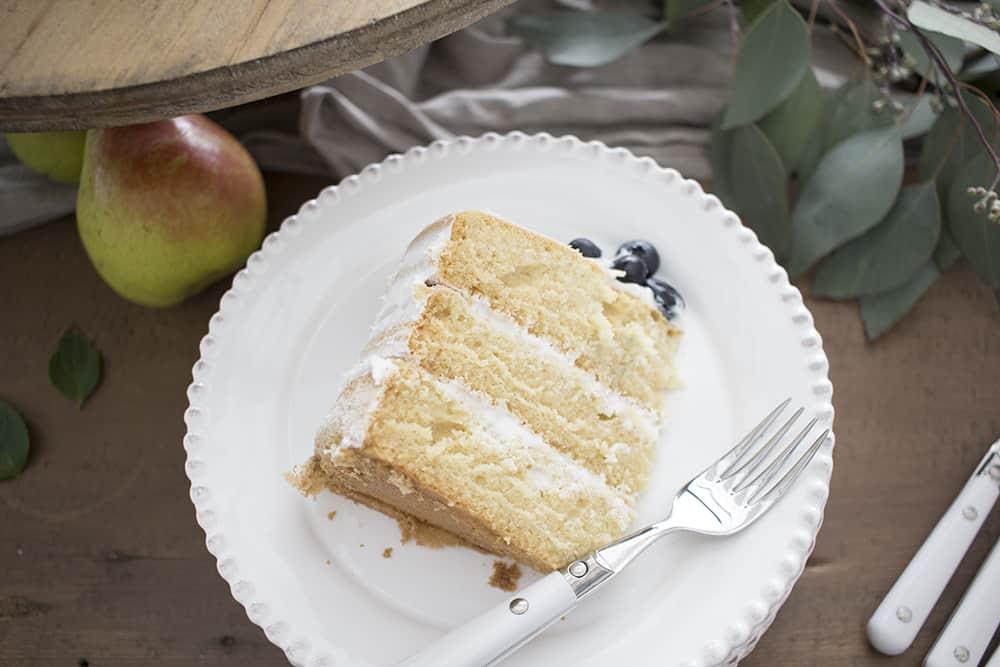 naked cake, beaded plate, eucalyptus, pear