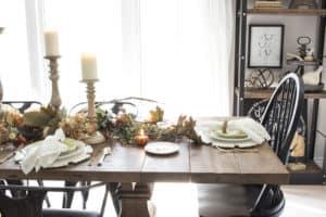 neutral fall farmhouse table