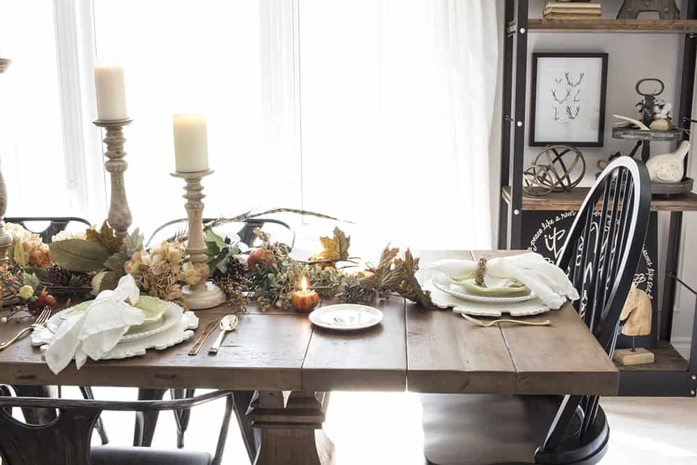 neutral fall farmhouse table