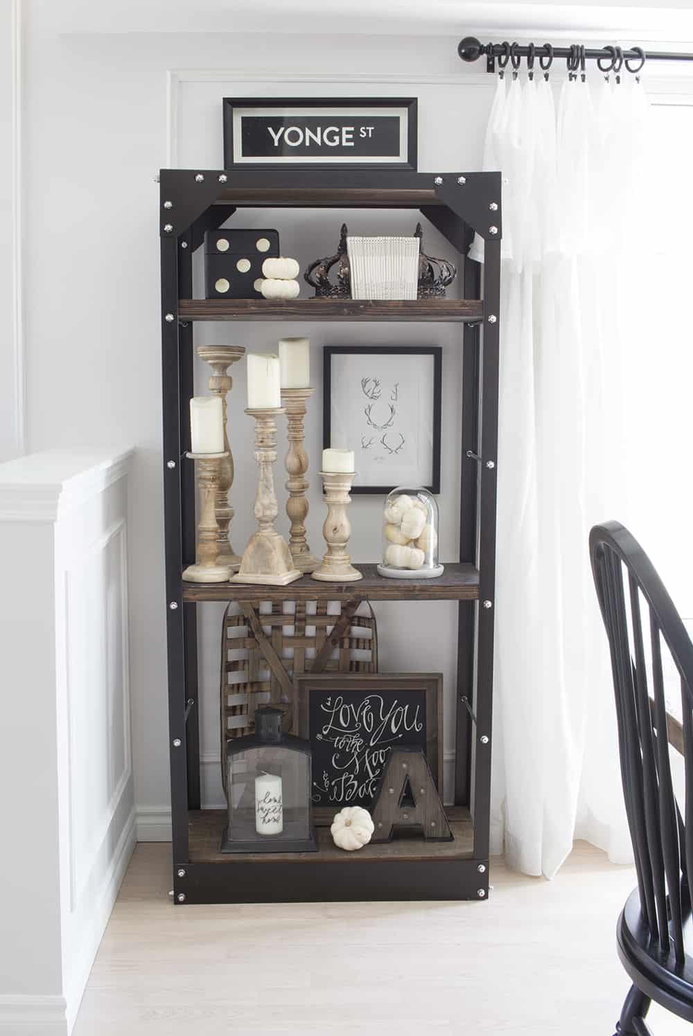 rustic industrial fall shelves