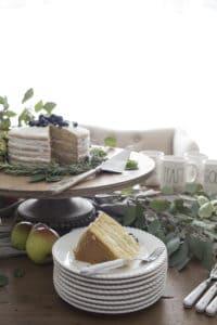 seeded eucalyptus naked cake wood cake stand
