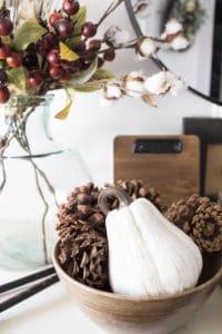 white gourd, wood bowl, pinecones