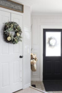 wreath on closet door
