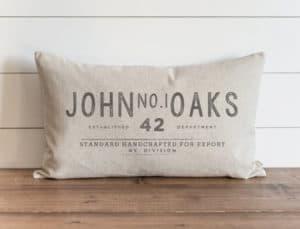 custom name throw pillow Porter Lane Home
