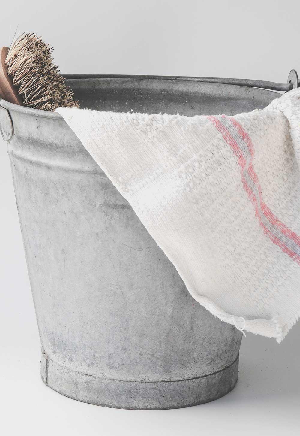 tin pail, brush and dish cloth