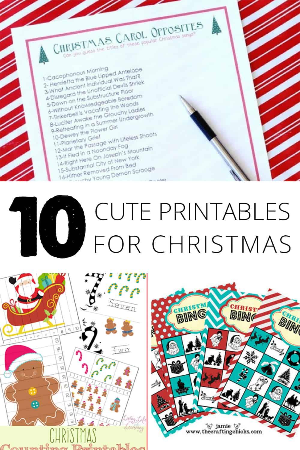 10 Cute Printables for Christmas