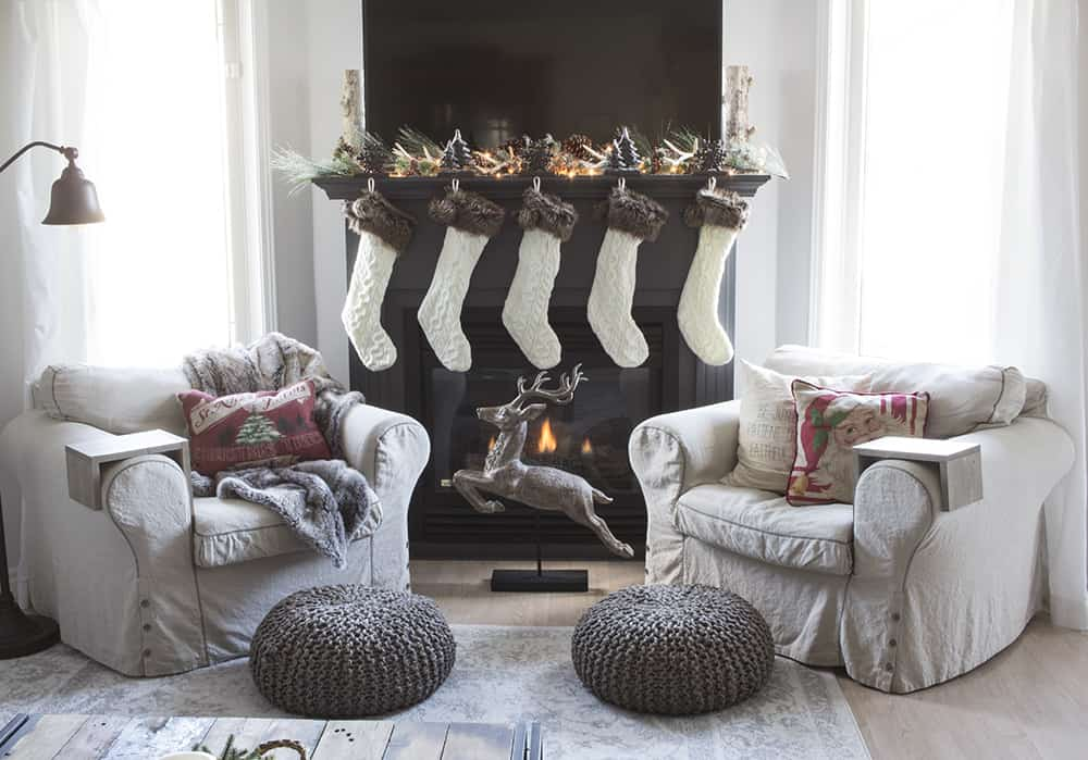 Christmas fireplace sitting area