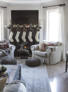 Cozy around the fireplace for Christmas