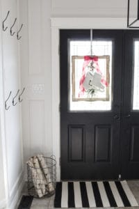 French Farmhouse Christmas Decor Idea - Frame, Skates and Greenery 2