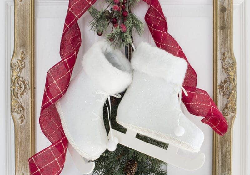 French Farmhouse Christmas Decor Idea - Frame, Skates and Greenery