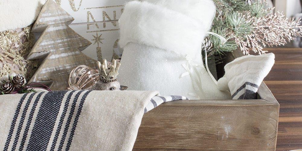 French Farmhouse Holiday Decor Gift Box