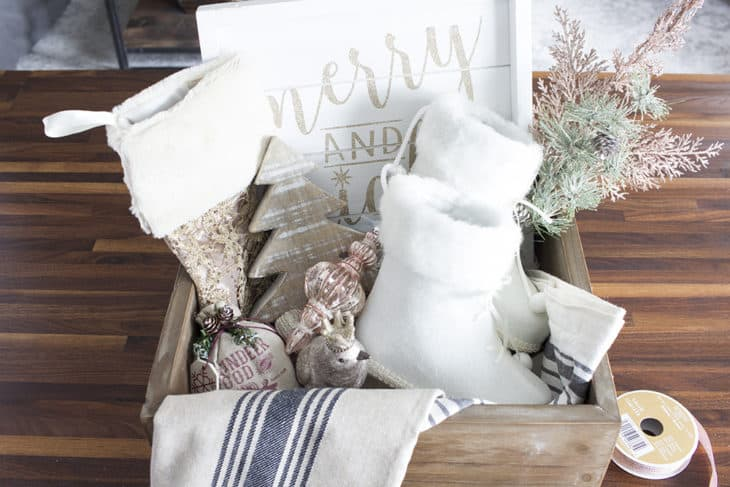 French Farmhouse Holiday Decor Gift Box contents