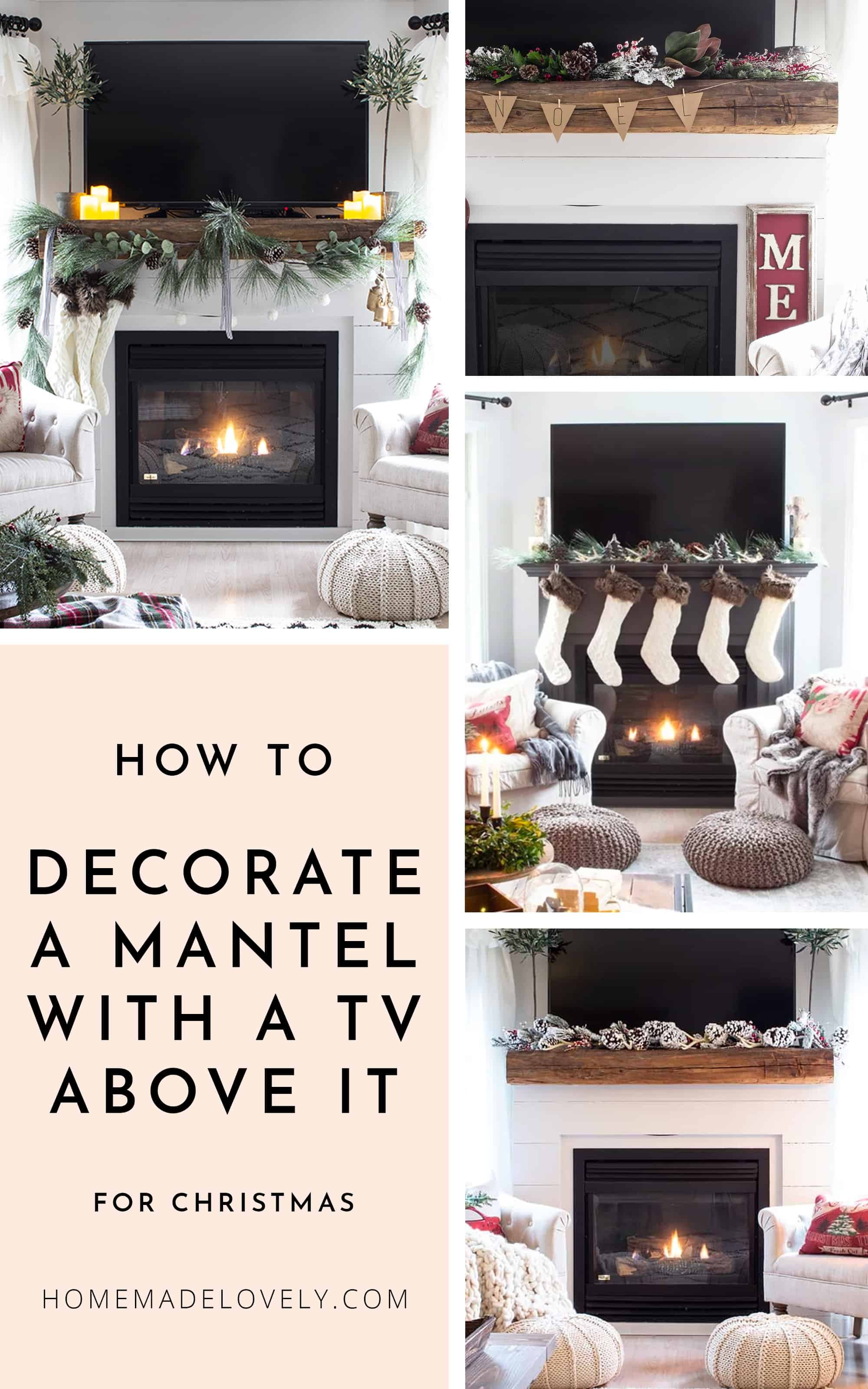 A Mantel With Tv Above It For, How To Decorate Fireplace With Tv Over Mantel