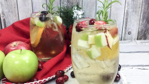 White Wine Holiday Sangrias with White Wine, Cider, Apples & Cranberries