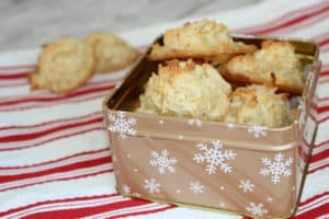 coconut macaroons in a tin