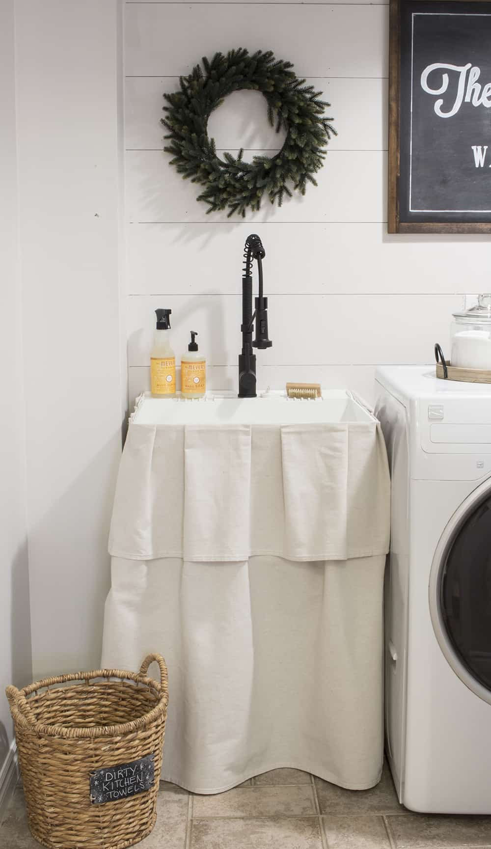 farmhouse laundry room drop cloth sink skirt