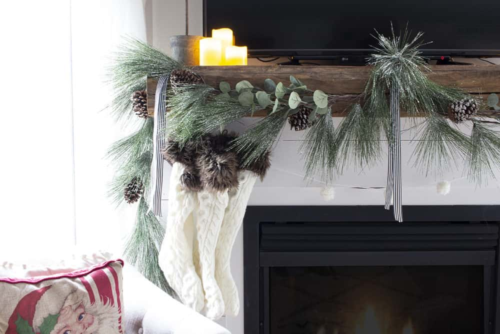 stockings grouped on one side of mantel
