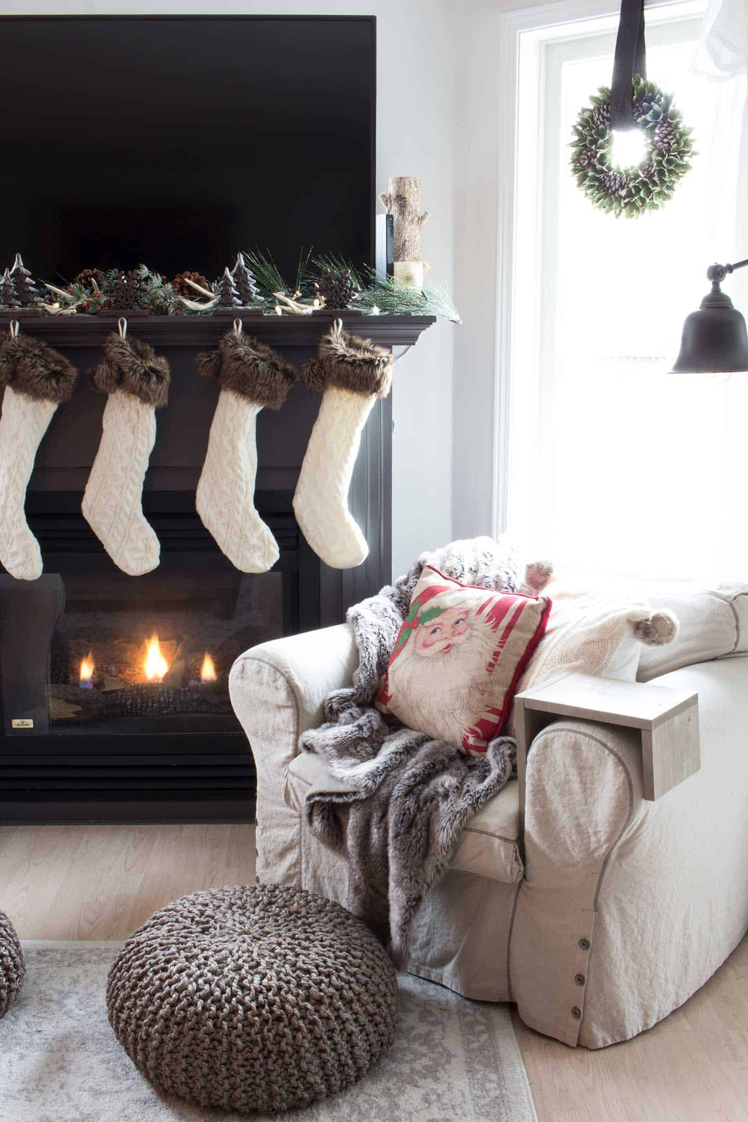 grey-fireplace-mantel-with-cream-stockings